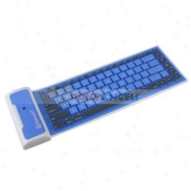 Portable Bluetooth Silicone Keyboard With Usb Cable For Ipad/iphone/computer(blue)
