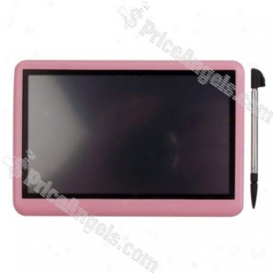 Portable High Clarity 4.3-inch Lcd Touch Screen Multi-media Mp3 / Mp4 / Dv / Mp5 Player (built-in 4gb Memory) - Pink