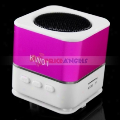 Movable Usb Mobile Mini Speaker With Fm/tf Card Slot(fuchsia)