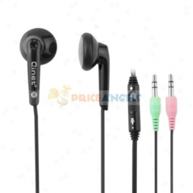 Qinet Q-803mv 3.5mm Audio Jack Stereo In-ear Earphone With Microphone/volume Control For Mp3 Computer(black)