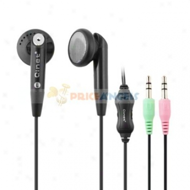 Qinet Q-904mv 3.5mm Jack Stereo Eatpiece/headset/earphone With Volume Hinder And Microphone For Computer/mp3(black)