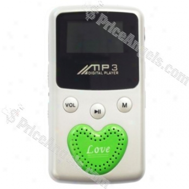 """stylish 1"""" Lcd Display Usb Rechargeable Digital Mp3 Player With Loudspeaker (2gb) - Silver + Green"""