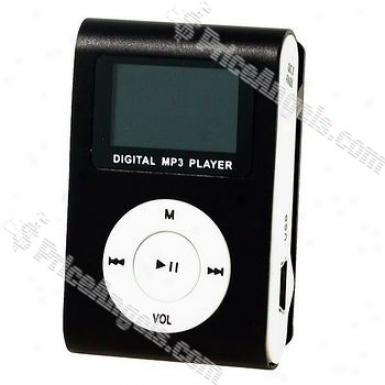 """stylish Mini Usb 0.8"""" Lcd Slim Clip Mp3 Player With Micro Sd / Tf Card Slot - Black"""