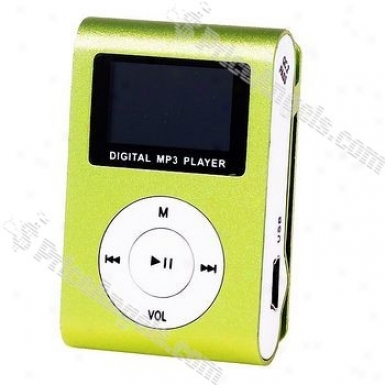 """stylish Mini Usb 0.8"""" Lcd Slight Clip Mp3 Player With Micro Sd / Tf Card Slot - Apple Green"""