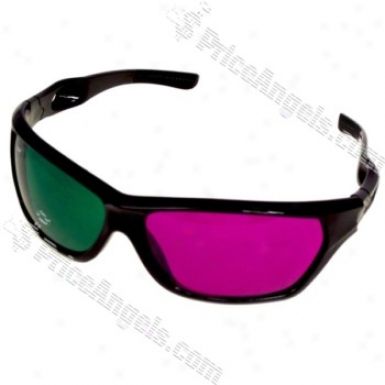 Re-useable Plastic Frzme And Lens Anaglyphic Green + Purple 3d Glasses