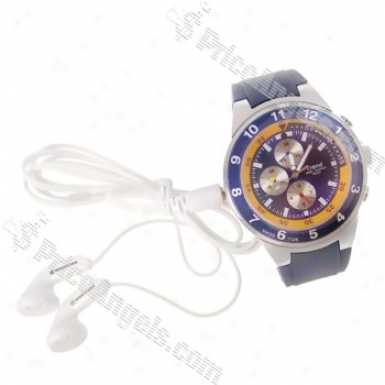Rechargeable 300kp Pin-hole Spy Dv Camera Mp3 Player Intoxicated As Working Wrist Watch - Blue&silver(4gb)