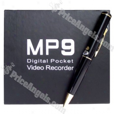 Rechargeable Digital Vga-quality Pin-hole Spy Av Camera + Usb Drive Disguised As Working Pen (4gb) - Black