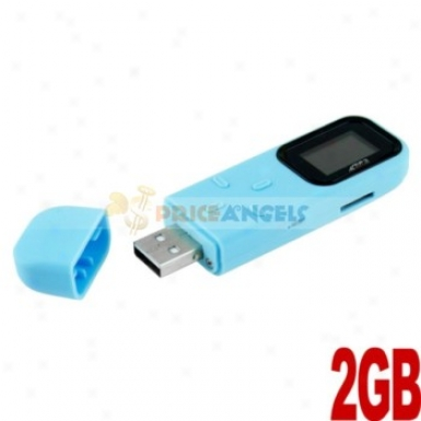 Rectangle Shaped 0.8-inch Screen Usb 2gb Mp3 Media Player With Tf Slot(blue)