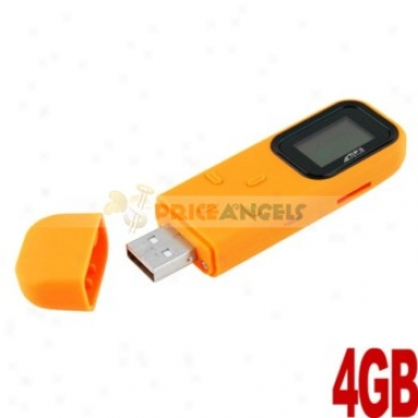 Rectangle Shaped 0.8-inch Screen Usb 4gb Mp3 Media Player With Tf Slot(orange)