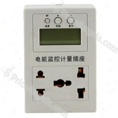 Saving Capacity of work Lcd Exhibit Measure Electric Power Powermeter With Plug(silver)