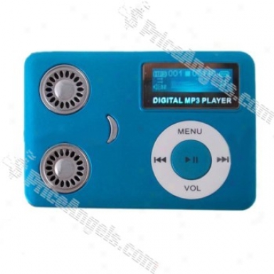 Smiley Face Card Style Mp3 Player With Built-in Speakers (1gb)-blue