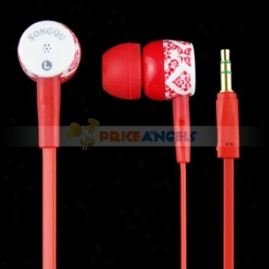 Songqu Sq-82mp Plant Pattern 3.5mm Jack Stereo Hands Free In-ear Earphones Headset For Pc/cell Phone(red)