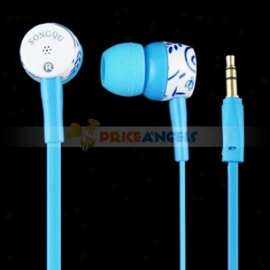 Songqu Sq-83mp Plant Pattern 3.6mm Jack Stereo Hands Free In-ear Earphones Headset For Pc/cell Phone(blue)