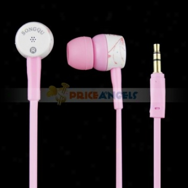 Songqu Sq-84mp Plant Pattern 3.5mm Jack Stereo Hands Free In-ear Earphones Headset For Pc/cell Phone(pink)