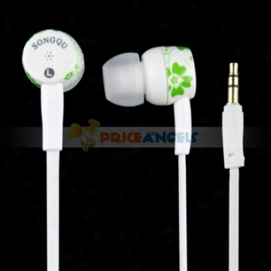 Songqu Sq-85mp Plant Pattern 3.5mm Jack Stereo Hands Generous In-ear Earphones Headset In spite of Pc/cell Phone(green)