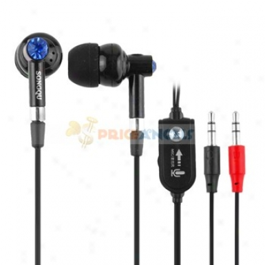 Songqu Sq-870mv 3.5mm Jack Stereo Hands Free In-ear Earphones Headset With Microphone/volume Hinder For Pc(black)