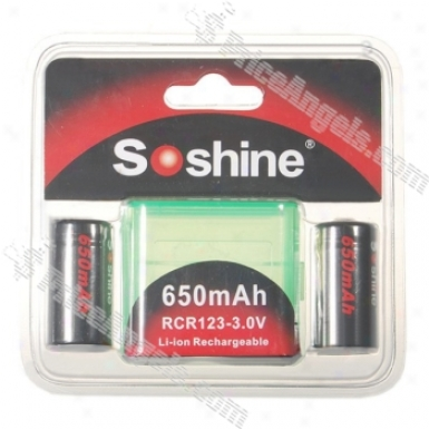 Soshine 650ma 3.0v Rcr123(a) Batteries Pack With Carrying Case
