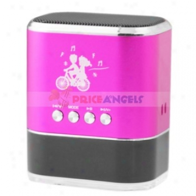 Sports Style Stereo Mini Spealer Amplifier W/ Fm Rario+tf Card Usb Slots+led Screen For Pc Mp3 Mp4 Player(magenta)
