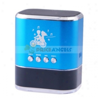 Sports Style Stereo Mini Speaker Amplifier W/ Fm Radio+tf Card Usb Slots+led Screen For Pc Mp3 Mp4 Player(blue)
