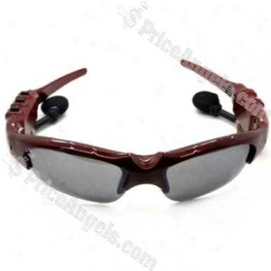 Stylish Usb Rechargeable Sunglasses Mp3 Player With Built-in 2gb Memory (red)