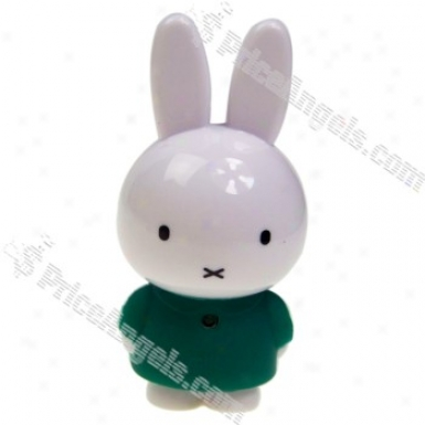 Super Mini Usb Rechargeable Miffy Rabbit Character Mp3 Player With Built-in 2gb Memory (green)