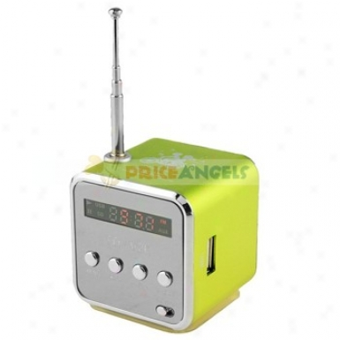 Td-v26 Sports Style Mini Led Screen Speaker Amplifier With Fm Radio/sd Tf Card For Pc Mp3 Mp4 Player(green)