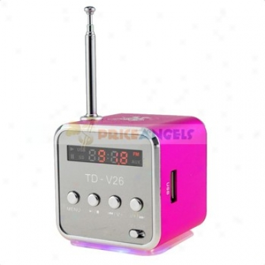 Td-v26 Sports Sfyle Mini Led Screen Speaker Amplifier With Fm Radio/sd Tf Card For Pc Mp3 Mp4 Player(fuchsia)