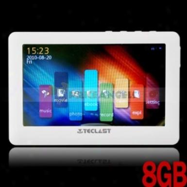 Teclasf C430ve 8gb 4.3-incn Led Screen Hd Mp5 Media Player(white)