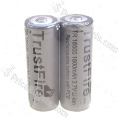 Trustfire 18500 1800mah 3.7v Protected Li-ion Rechargeable Battery With Pcb(2-pack)