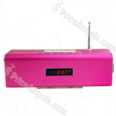 Tt2 Box Style Red Led Digital Display Rechargeable Mp3 Sp3aker With Fm/t Slot-magenta