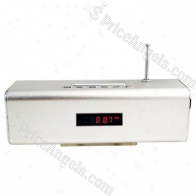 Tt2 Box Style Red Led Digital Display Rechargeable Mp3 Speaker With Fm/tf Slot-silver