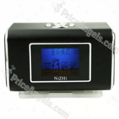 Tt6 Mini Box Style Lcd Blue Backlit Display Rechargeable Mp3 Speamer In the opinion of Fm/tf Slot-black