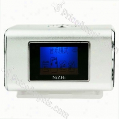 Tt6 Mini Box Style Lcd Blue Backlit Display Rechargeable Mp3 Speaker With Fm/tf Slot-silver
