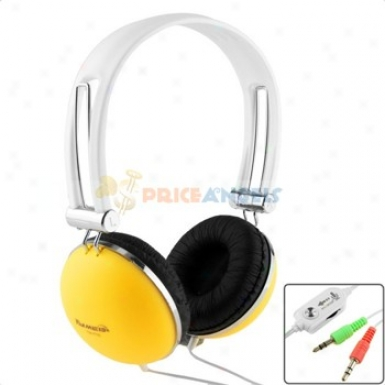 Tymed Adjustable Stereo Headphone Headset Earphones With Microphone For Pc Computer Laptop(yellow)