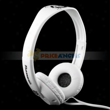 Tymed Tm6 Skull Pattern Stereo 3.5mm Headset Headphone Earphone Earpiece Foe Mp3 Mp4 Cd Player(white)