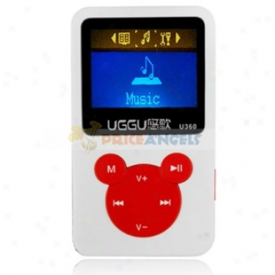 Uggu U360 2gb 1.4-inch Screen Stereo Mp3 Player With Speaker(white + Red)