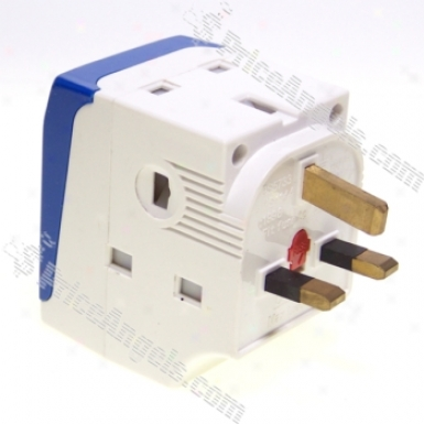 Uk-131gt 13a 3-way Fused Travel Power Adapter With Switch 100v~240v