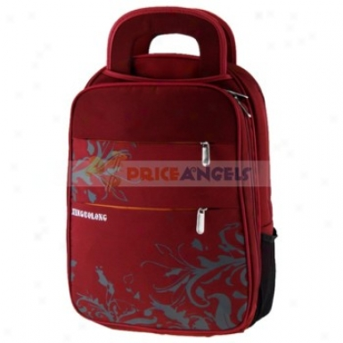 Unisex Leaf Pattern Multi Zipper Pockets Laptop Backpack Traveling Bag(red)