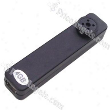 Usb Rechargeable Av 100kp Pinhole Spy Collar Camera Hidden With Wireless On / Off Sensor (4gb) - Black