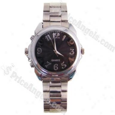 Usb Rechargeable Av 300kp Pinhole Spy Camera Hidden In Moving Steel Wristwatch (4gb) - Silvery