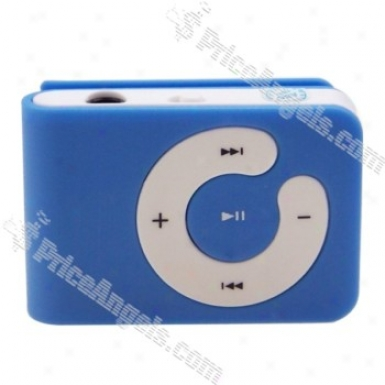 Usb Rechargeable Mini Screen-free Clip Mp3 Player(tf Slot)-blue