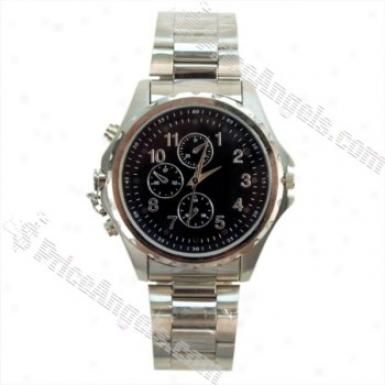 Usb Rechargeable Pinhole Spy Av Camera Disguised As Working Steel Wristwatch (4gb / Us Charger)