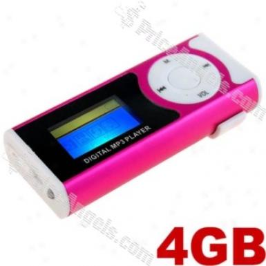 Usb Rechargealbe Lcd Display Belt Clip Mini Digital Mp3P layer-pink(4gb)
