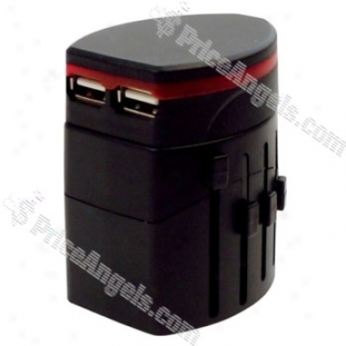 Worldwide Travel Power Adapter With 2 Usb Ports (us / Eu / Uk / Au Plug)