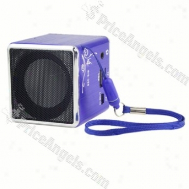 Ws-368 Mini Square Box Style Rechargeable Mp3 Speaker With Tf Slot-blue
