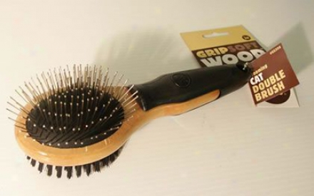 Wood Gripsoft Double Sided Brush For Cats