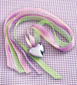 "1-1/4"" Heart Chime Necklace With Three 30"" Ribbons Anc Organza Bag"