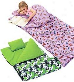 100% Super-soft Cozy Cotton Machine Washable Flannel Kid's Sleeping Bag By the side of Pillow And Storage Bag