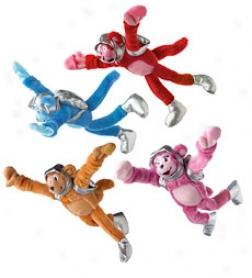 "Set Of 4 11-1/2"" Plush Flying Flingshot Space Monkeys"