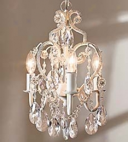 "12"" Glass And Acrylic Bead Dangling Princess Chandelier With 3 25-watt Bulbs"